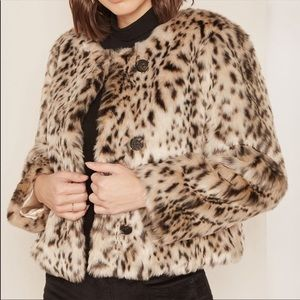 NWT J. Crew Snow Leopard Faux Fur Coat Size Large